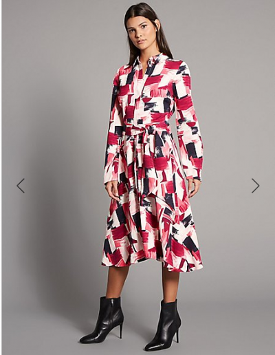 M&S Printed Shirt Midi Dress