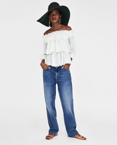 Ruffled Bardot Top