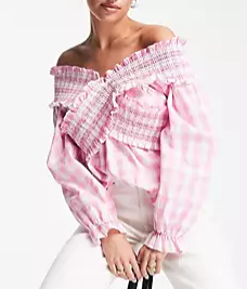 Gingham Pink Top